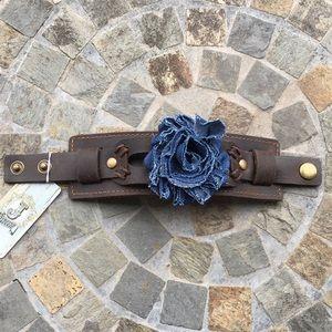 Jewelry - Jewelry Junkie Leather Cuff with Denim Flower